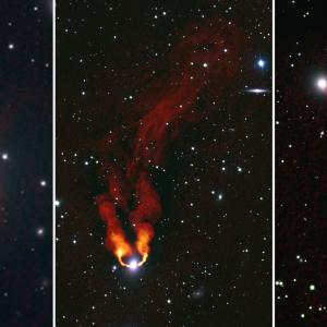 Галактики горят като огньове в тъмното на тези радио снимки